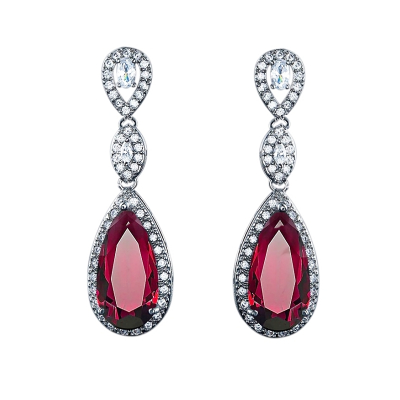 CUBIC ZIRCONIA COLLECTION - CRYSTAL SPLENDOUR EARRINGS - CZER393 RED