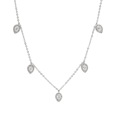 CUBIC ZIRCONIA COLLECTION - CRYSTAL DROP NECKLACE - CZNK116
