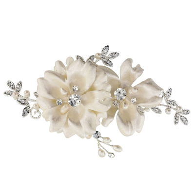 SASSB COLLECTION - FAYE VINTAGE ROSE HEADPIECE - SILVER