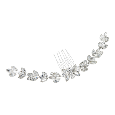ATHENA COLLECTION - CRYSTAL GLAM HAIR COMB - HC196 SILVER