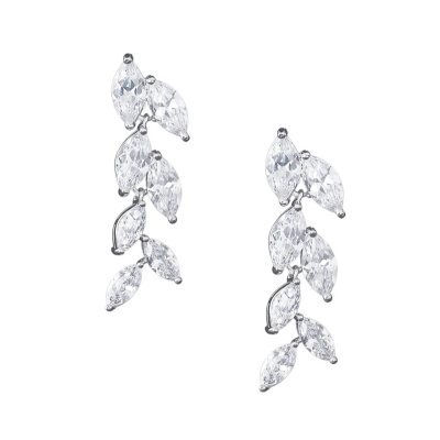 CUBIC ZIRCONIA COLLECTION - GRADUATED CRYSTAL EARRINGS - CZER517 SILVER