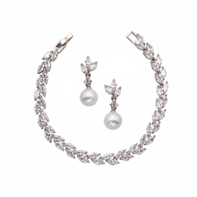 CUBIC ZIRCONIA COLLECTION - CHIC CRYSTAL BRACELET SET - BR115 SILVER