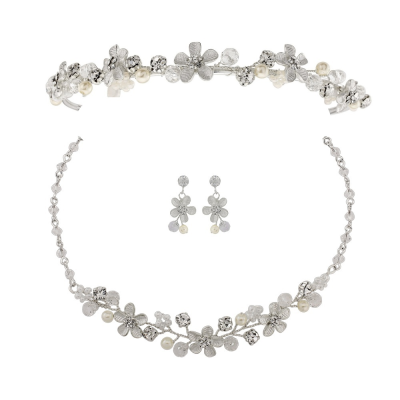 ATHENA COLLECTION - Bridesmaid Daisy Tiara Set - Silver