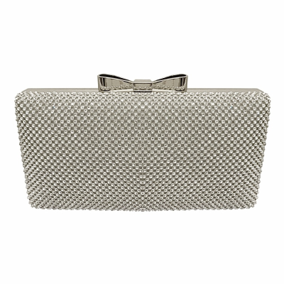 VINTAGE CRYSTAL BOW CLUTCH -SILVER