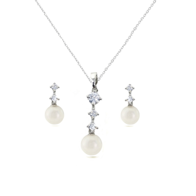 CUBIC ZIRCONIA COLLECTION - DAINTY PEARL NECKLACE SET - CZNK 95 SILVER