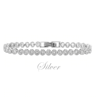 CUBIC ZIRCONIA COLLECTION - SHIMMERING CRYSTAL BRACELET - (CZBRA32) SILVER