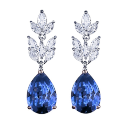 CUBIC ZIRCONIA COLLECTION - STARLET CHIC EARRINGS - CZER368 SAPPHIRE