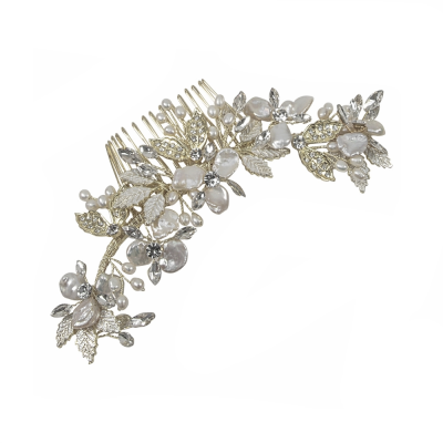 ATHENA COLLECTION - BEJEWELLED PEARL TREASURE COMB HC187 (SILVER)