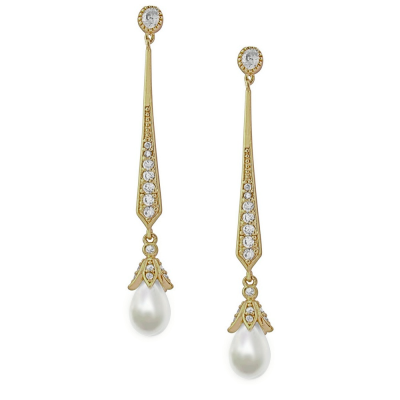 CUBIC ZIRCONIA COLLECTION - GLITZY PEARL DROP EARRINGS -  GOLD - CZER379