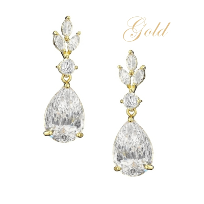 CUBIC ZIRCONIA COLLECTION - SIMPLY SPARKLE EARRINGS - CZER567 GOLD