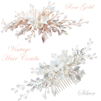ATHENA COLLECTION -EXQUISITE FLORAL EMBELLISHED HAIR COMB COLLECTION - HC179