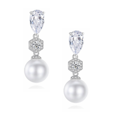 CUBIC ZIRCONIA COLLECTION - EXQUISITE PEARL DROP EARRINGS - SILVER CZER572