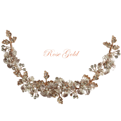ATHENA COLLECTION - FLORAL ROMANCE EXQUISITE HAIR VINE - (HP153) ROSE GOLD