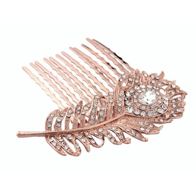 CRYSTAL PEACOCK FEATHER BRIDAL HAIR COMB - Rose Gold (HC12)