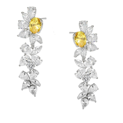 CUBIC ZIRCONIA COLLECTION - CRYSTAL DAZZLE EARRINGS - YELLOW - CZER526