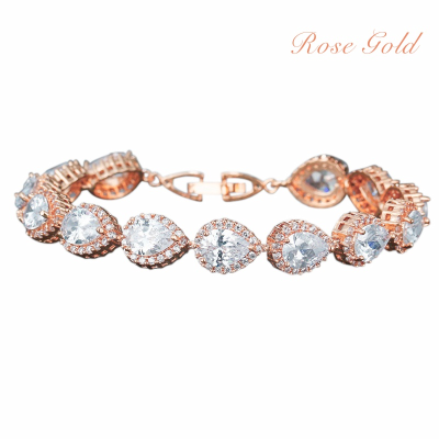 CUBIC ZIRCONIA COLLECTION - EXQUISITE CRYSTAL TREASURE BRACELET - CZBRA27 (ROSE GOLD)