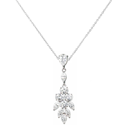 CUBIC ZIRCONIA COLLECTION - PRETTY CHIC NECKLACE - CZNK-104 SILVER