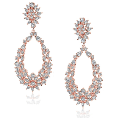 CUBIC ZIRCONIA COLLECTION - STARLET DAZZLE EARRINGS - CZER522 - ROSE GOLD