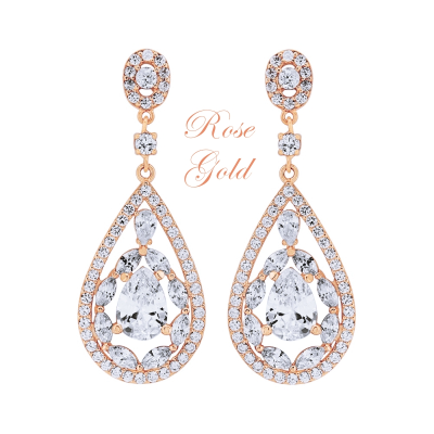 CUBIC ZIRCONIA COLLECTION (ROSE GOLD)- EARRINGS - (ER309)