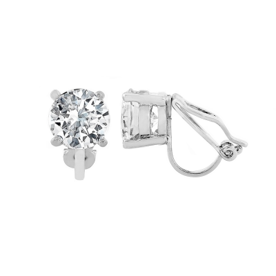 CUBIC ZIRCONIA COLLECTION - 8mm cz solitaire clip on Earrings - CZER401 (silver)