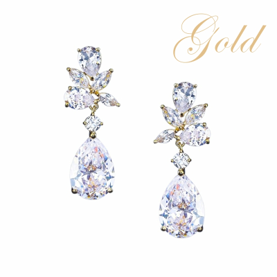 CUBIC ZIRCONIA COLLECTION - EXQUISITE STARLET EARRINGS - CZER445 GOLD