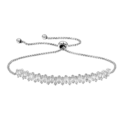 CUBIC ZIRCONIA COLLECTION - CRYSTAL SHIMMER ADJUSTABLE BRACELET - BRA53 SILVER