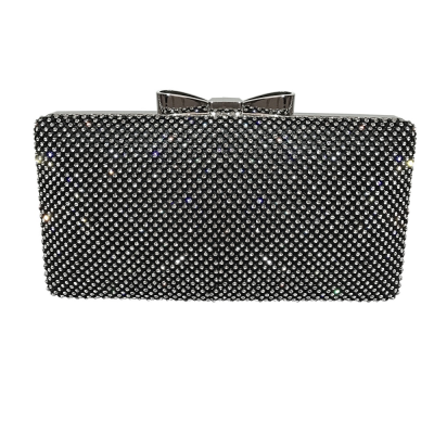 VINTAGE CRYSTAL BOW CLUTCH -JET