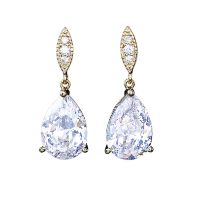 CUBIC ZIRCONIA COLLECTION - CLASSIC SPARKLE EARRINGS - CZER390  GOLD