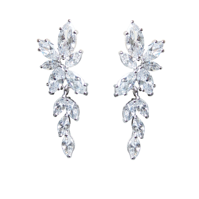 CUBIC ZIRCONIA COLLECTION - DAINTY TREASURE EARRINGS - CZER448 SILVER