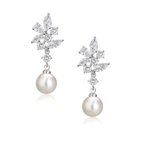 CUBIC ZIRCONIA COLLECTION -ELEGANCE PEARL EARRINGS - CZER588
