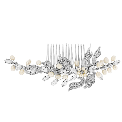 Luxurious Crystal & Pearls Bridal Comb - Ivory (HC50)