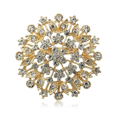 ATHENA COLLECTION - CRYSTAL CLUSTER BROOCH - GOLD (BROOCH 157)