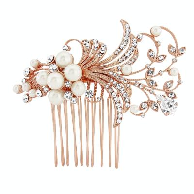 Vera Pearl Hair Comb - SASSB -ROSE GOLD (HC11)
