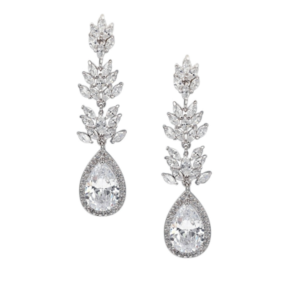 CZ COLLECTION - SPARKLING GLAMOUR EARRINGS - CZER444 SILVER