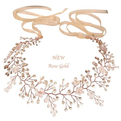 Athena Collection - Crystal Shimmer Hair Vine - (HP137) Rose Gold