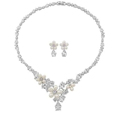 Extravagance Freshwater Pearl & CZ Necklace Set - CZNK51