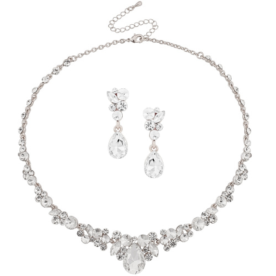 ATHENA COLLECTION - CRYSTAL ENCHANTMENT NECKLACE SET - SILVER (NK166)