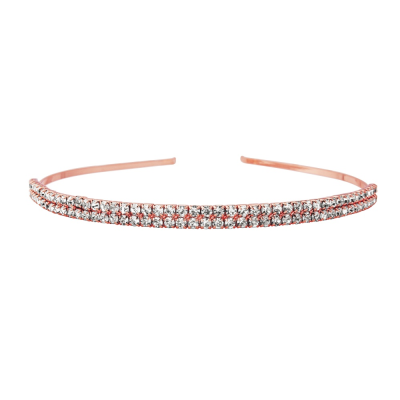 TWO ROW CRYSTAL HEADBAND - ROSE GOLD (HB1639)