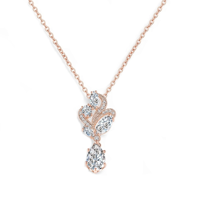 CUBIC ZIRCONIA COLLECTION - BEJEWELLED NECKLACE - CZNK77 ROSE GOLD