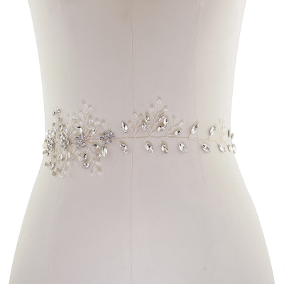 ATHENA COLLECTION - CRYSTAL CHIC BRIDAL BELT - SILVER (22)