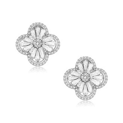 CUBIC ZIRCONIA COLLECTION - GATSBY GLAM EARRINGS - CZER398 SILVER