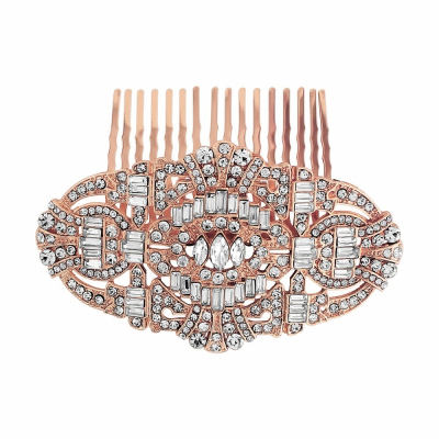 Vintage Style Crystal Comb - ROSE Gold HC150