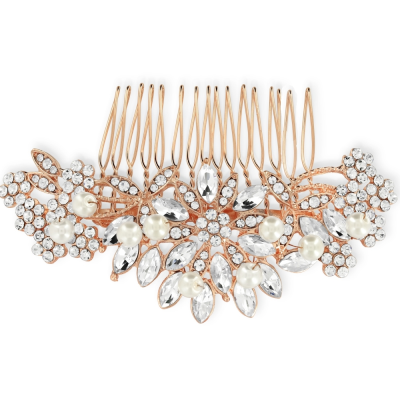 ATHENA COLLECTION - CLASSIC   PEARL HAIR COMB - HC162 ROSE GOLD
