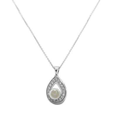CUBIC ZIRCONIA COLLECTION -PRECIOUS PEARL NECKLACE  CZNK59 (SILVER)
