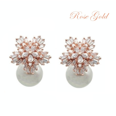 CUBIC ZIRCONIA COLLECTION - PEARL EXTRAVAGANCE EARRINGS - CZER426 (ROSE GOLD)