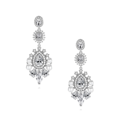 CUBIC ZIRCONIA COLLECTION - PEARL EXTRAVAGANCE EARRINGS - CZER586 SILVER