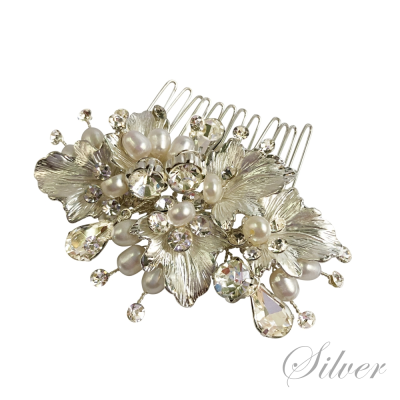 ATHENA COLLECTION - FLORAL ROMANCE CHIC HAIR COMB - HC170 SILVER
