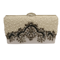 EXQUISITE GATSBY EMBELLISHED CLUTCH BAG - SILVER