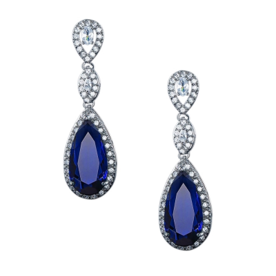 CUBIC ZIRCONIA COLLECTION - CRYSTAL SPLENDOUR EARRINGS - CZER393 BLUE