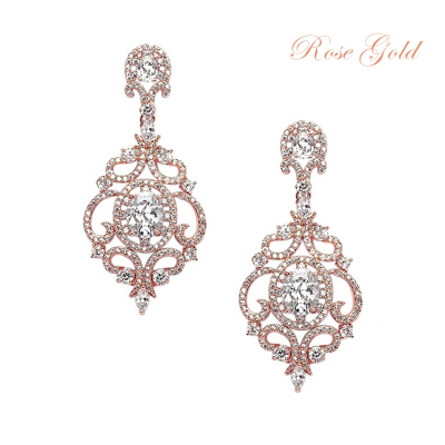 CUBIC ZIRCONIA COLLECTION - STARLET'S CRYSTAL TREASURE EARRINGS - CZER410 (ROSE GOLD)